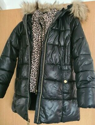 MICHAEL KORS GIRLS COAT Black Quilted Puffer Down Fur aged 10 to 12 yrs