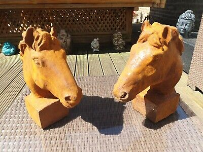Small Pair Cast Iron Horse Heads - Gate-Post Top Busts Finials Caps