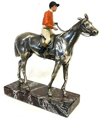 Lovely Antique Horse And Jockey Figure Silver And Cold Painted