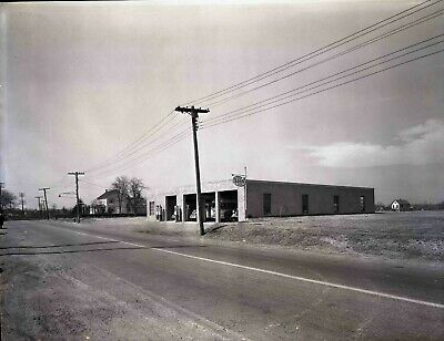 """8435 Original 8x10"""" Negative New Jersey Area Gas Station Esso Advertising 30s"""