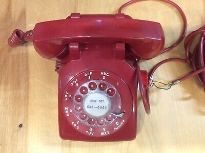 Vintage Red Rotary Phone 1973 Western Electric