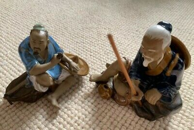 Two Vintage Chinese Mudmen Ornament Statues For Home Decoration Collectors Item
