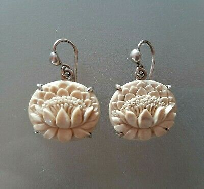 Antique Chinese Carved Bovine Lotus Earrings