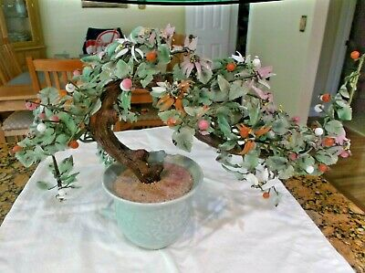 JADE BONSAI TREE CHINESE GLASS AGATE ASIAN FLOWERS 18 x 12