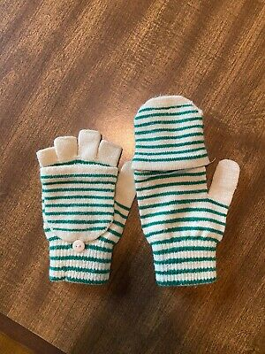 Green And Cream Stripped Fingerless Mittens