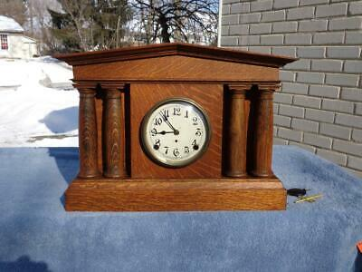 Pequegnat Pantheon Shelf Mantle Clock Original Oak Finish Painted Dial Berlin