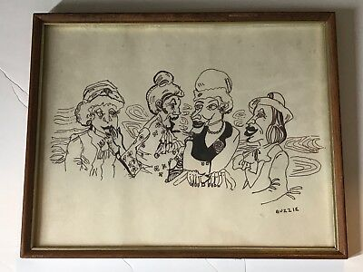 Drawn Characature of Four Ladies Talking Signed by the Artist, BUZZIE in a frame