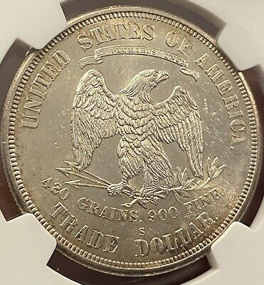 1876-S Trade Silver Dollar NGC UNC Details   High-Grade Album/Type Set Coin