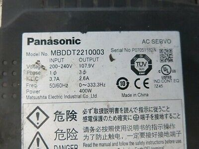 Used PANASONIC Servo Driver MBDDT2210003 Tested