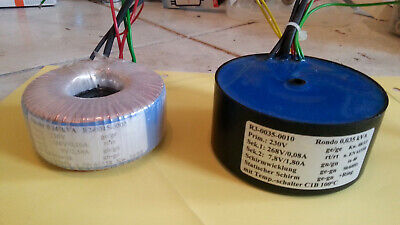 toroidal transformer on left side :sec.250V/0.1A and 9V/2.5A  , see text