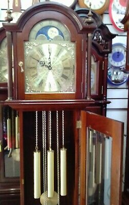 Chain-Driven Grandfather Clock with Rolling Moon Dial