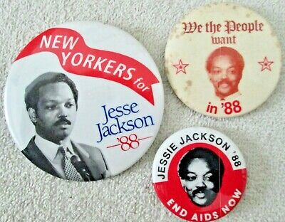 Jesse Jackson 1988 presidential campaign lot three pins as found