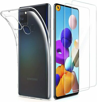 For Samsung Galaxy A21s Case Clear Slim Gel Cover & Glass Screen Protector