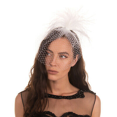 MISS GRANT Satin Headband Feathers Embellished Tulle Front