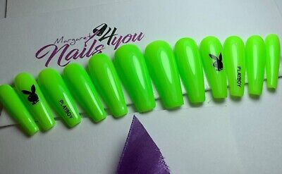 A Set Of Hand Painted Neon Green False Nails With  Stamp Coffin Playboy