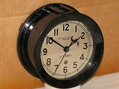Chelsea U.s.navy Zig-Zag Clock ~6 In~1944~Ww2 Era~Restored
