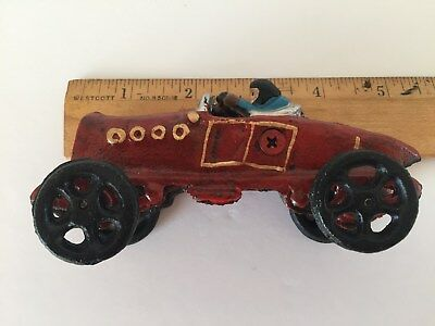 Vintage Antique Cast Iron Race Car Driver Metal Toy
