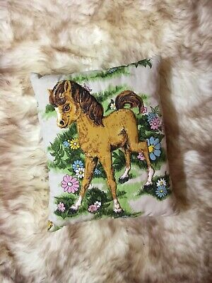 Vintage 1960s 1970s Pillow With Quilted BABY HORSE FOAL 11 X 13