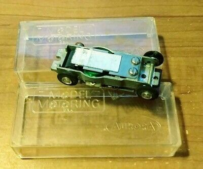 Vintage Aroura slot car chassis and clear storage box