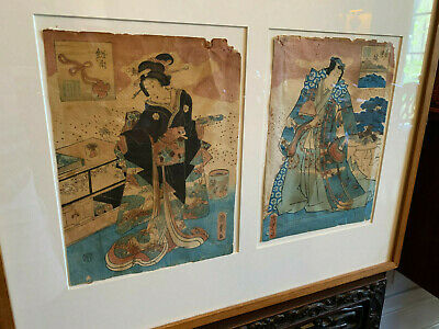 A Pair Antique Japanese Woodblock Prints Framed.