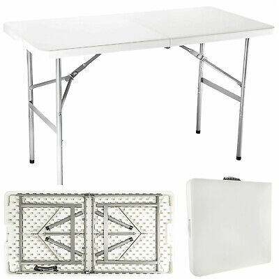 6ft Folding Table White Trestle Heavy Duty Plastic Portable Camping Garden Party
