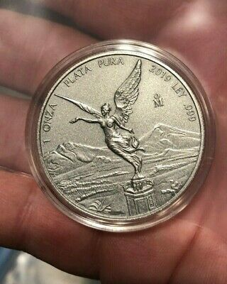 2019 Mo Mexico Antique Finish 1 oz Libertad Silver- capsule - mintage only 1000