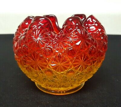 """Beautiful Vintage Round Red & Yellow Flashed Crimped Vase 3.5"""" Tall x 4"""" Wide"""