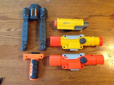 Nerf Accessory Lot: Scopes, Tactical Light, Stand, Grip