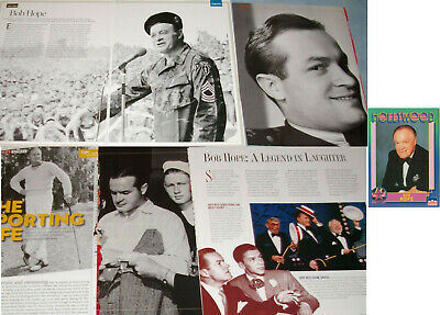 BOB HOPE 92x CLIPPINGS 1970s-now + Trading Card (1991)