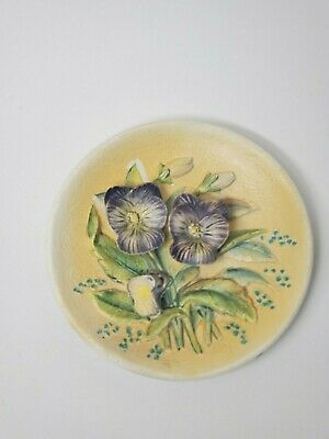 Vintage Hand Painted Raised Purple Pansy Flower Plate Wall Plaque Signed Antique