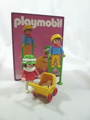 Playmobile 5403 Vintage Mom & Baby Carriage/Man on Stilts 1989