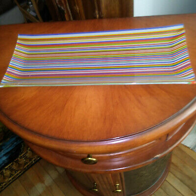 """Gorgeous Vintage """"Rainbow Striped"""" Colorful Rectangular Glass Trinket Dish For S"""