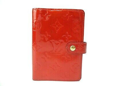 Authentic Louis Vuitton Vernis Agenda PM Notebook Cover R21016 Red