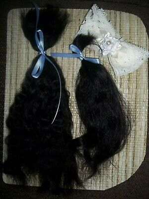 """*SOFT BLACK/""""~VERY CURLY 10in FOR REBORN~SILKY~1//2 OZ~YEARLING ANGORA MOHAIR"""