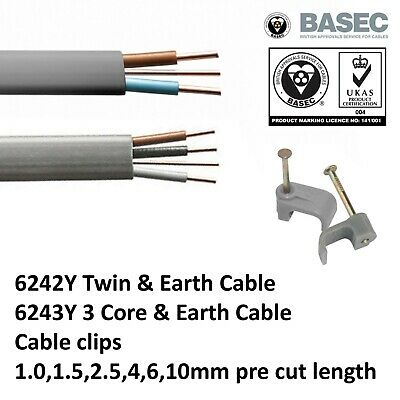 4mm Twin and Earth Cable T/&E Grey Radial Socket Circuits BASEC Approved