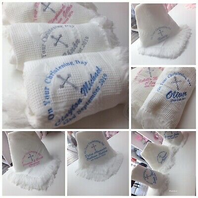 💙💕 Personalised embroidered Christening Baptism Shawl blanket girl or boy gift