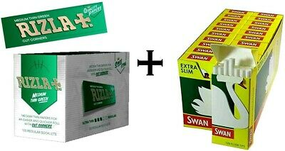 24 booklets of Rizla green regular papers + 10 boxes Swan extra slim filter tips