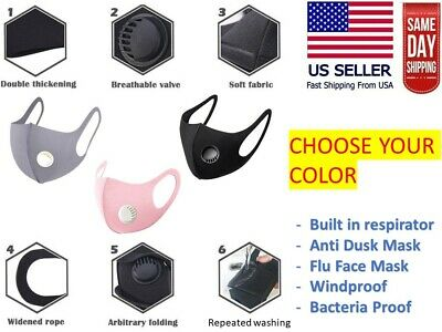 Respirator Filter COLOR Face Fashion Mask Washable Reusable Unisex Adult 3D MASK
