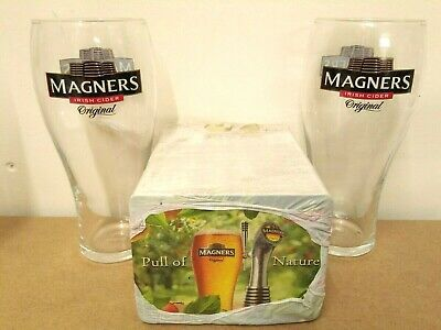 Set Of 2 Magners Pint 20oz Glasses Brand New 100/% Genuine Official