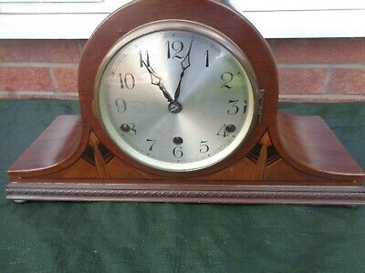 Inlaid Wooden Westminster Chime Napoleon Hat Mantle Clock  Anvil Made In Baden