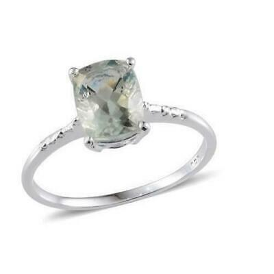 Ladies Sterling Silver 925 Green Aventurine Pear Solitaire Stone Ring Size Q