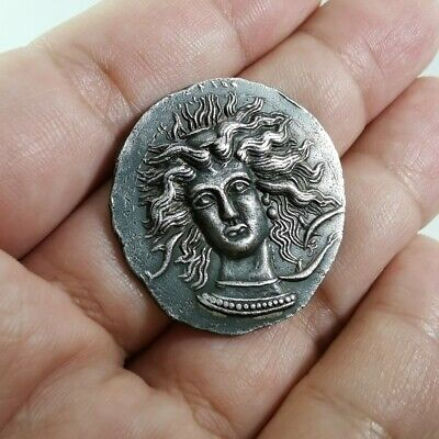 Ancient Arethusa Tetradram Syracuse Charioteer Reins Solid Silver Coin 17.6Gr