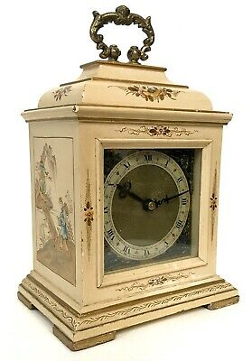 Stunning Chinoiserie Cream Lacquered Mercer Mantel Bracket Clock Japanned Paint