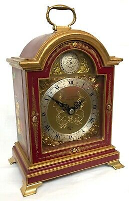 Chinoiserie Cherry Red Lacquered Elliott Mantel Bracket Clock Japanned Paint