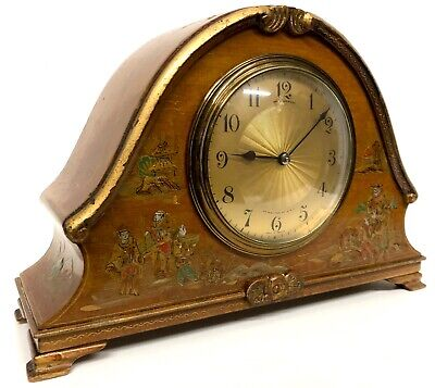 Stunning Chinoiserie Orange Lacquered Mantel Bracket Clock Japanned Paint