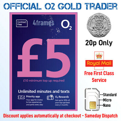 New O2 Sim Card Pay As You Go Unlimited Calls & Texts For £5 A Month 02 Network