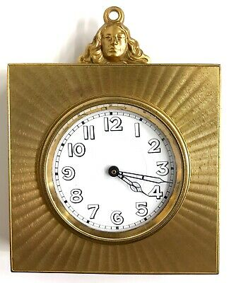 Lovely Antique Brass Desk / Sedan Style Clock With Maidens Head Loop