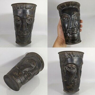 Antique Greek Roman Head Carved Bronze Mug Goblet Cup Jug Pitcher Unique #469