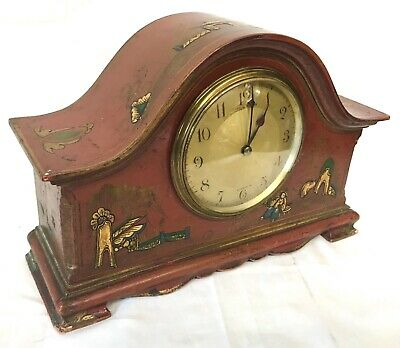 Stunning Chinoiserie Red Lacquered Mantel Bracket Clock Japanned Paint