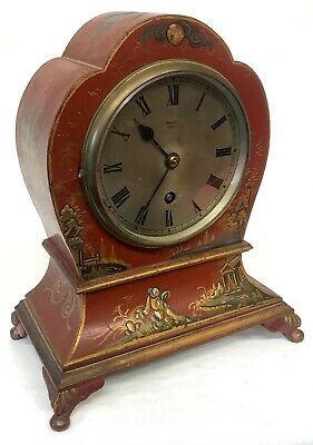 Stunning Antique Red Lacquered Chinoiserie Mantel Table Clock By Mallury Bath